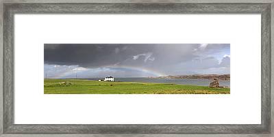Rainbow, Island Of Iona, Scotland Framed Print