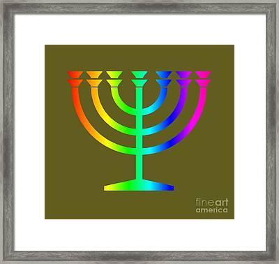Rainbow Judaism Symbol Framed Print