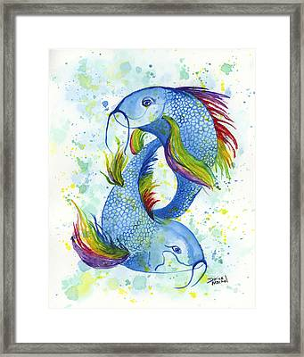 Framed Print featuring the painting Rainbow Koi by Darice Machel McGuire