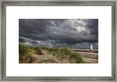 Rainbow Lighthouse Framed Print by Adrian Evans