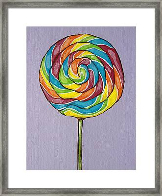 Rainbow Lollipop Framed Print by Sandy Tracey