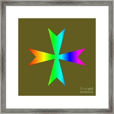 Rainbow Maltese Cross Variant Framed Print by Frederick Holiday