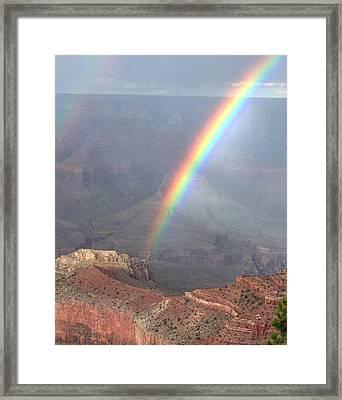 Rainbow Meets Mather Point Framed Print