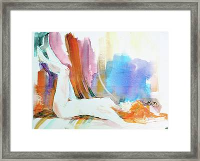Framed Print featuring the painting Rainbow Nude by Gertrude Palmer