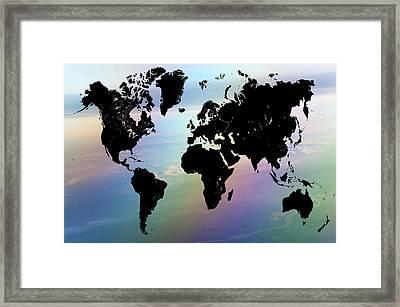 Rainbow Ocean World Map Framed Print by Jenny Rainbow