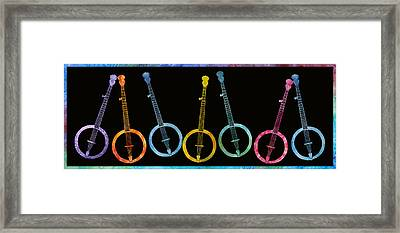 Rainbow Of Banjos Framed Print by Jenny Armitage