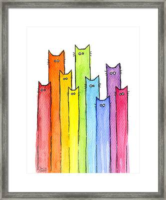 Rainbow Of Cats Framed Print by Olga Shvartsur