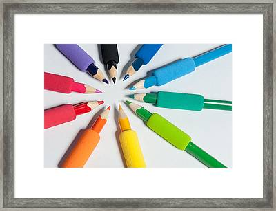 Rainbow Of Crayons Framed Print