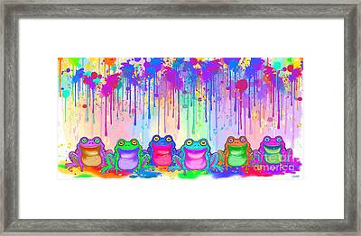 Framed Print featuring the painting Rainbow Of Painted Frogs by Nick Gustafson