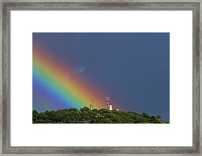 Rainbow On Lighthouse- St Lucia Framed Print