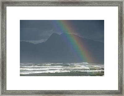 Rainbow On Ocean Framed Print by Sami Sarkis