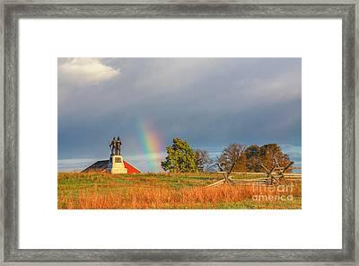 Rainbow On The Gettysburg Battlefield Three Framed Print