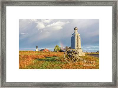 Rainbow On The Gettysburg Battlefield Two Framed Print