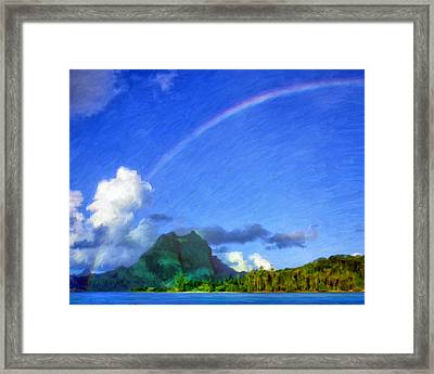 Rainbow Over Bora Bora Framed Print