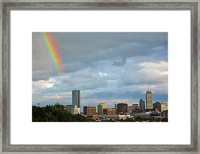 Rainbow Over Boston Ma Framed Print by Toby McGuire