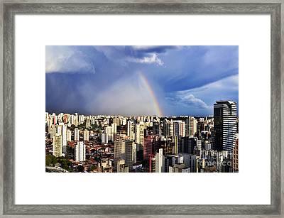 Rainbow Over City Skyline - Sao Paulo Framed Print