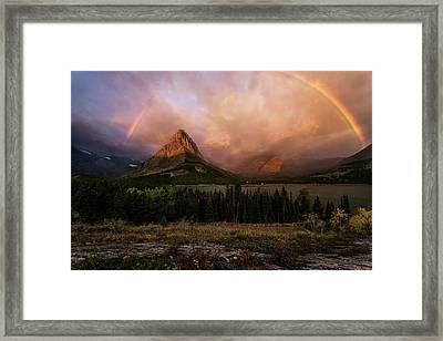 Rainbow Over Mt Gould Framed Print