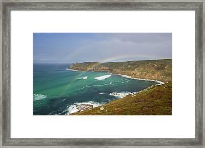 Rainbow Over Nanjizal Bay In Cornwall Framed Print by Pete Hemington
