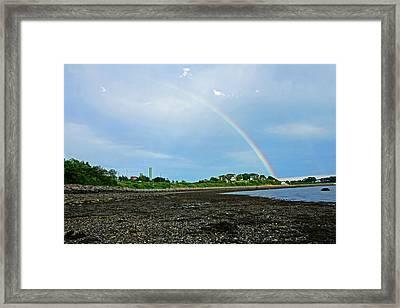 Rainbow Over Nut Island And Wollaston Beach Framed Print
