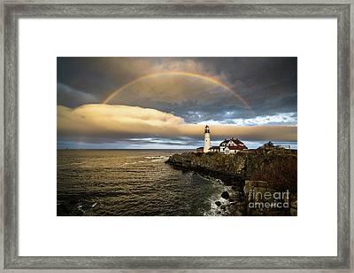Rainbow Over Portland Head Light Framed Print