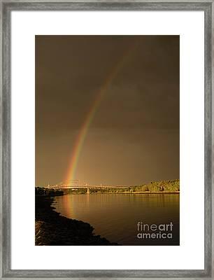 Rainbow Over Sagamore Bridge, Cape Cod Framed Print by Michelle Himes