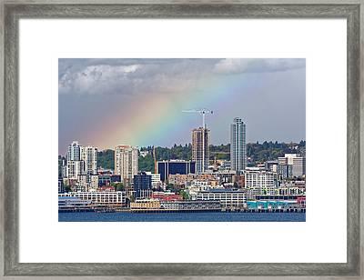 Rainbow Over Seattle Framed Print