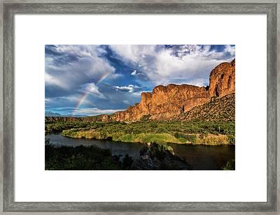 Framed Print featuring the photograph Rainbow Over The Bulldogs  by Saija Lehtonen