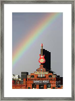 Rainbow Over The Pier 4 Power Plant Baltimore Framed Print