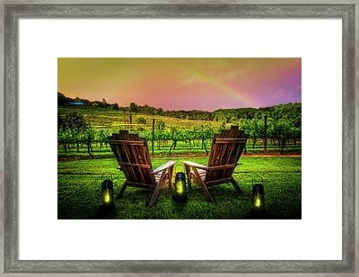 Rainbow Over The Vineyard Framed Print