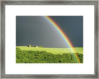 Rainbow Over Vitaleta Framed Print by Michael Blanchette