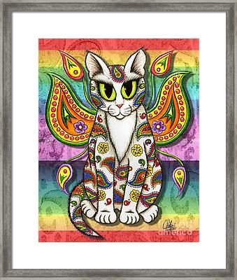 Framed Print featuring the mixed media Rainbow Paisley Fairy Cat by Carrie Hawks