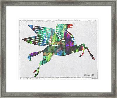 Rainbow Pegasus Mobil Print Poster Framed Print by Robert R Splashy Art Abstract Paintings