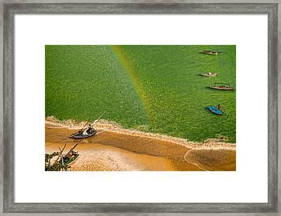 Framed Print featuring the photograph Rainbow Rain by Kim Wilson