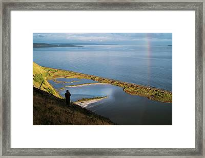 Rainbow Reflection In The San Juan Islands Framed Print by Mary Lee Dereske
