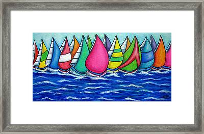 Rainbow Regatta Framed Print