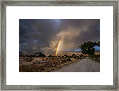 Rainbow Road Framed Print by Cat Connor