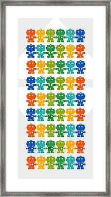 Rainbow Robots Framed Print