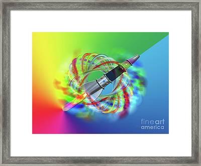 Rainbow Rocket Orbits Framed Print