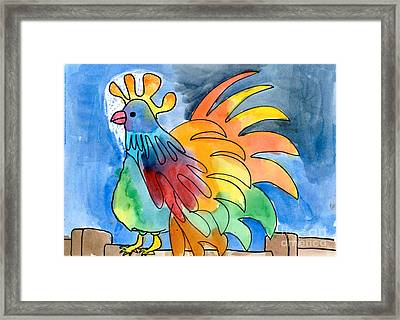 Rainbow Rooster Framed Print