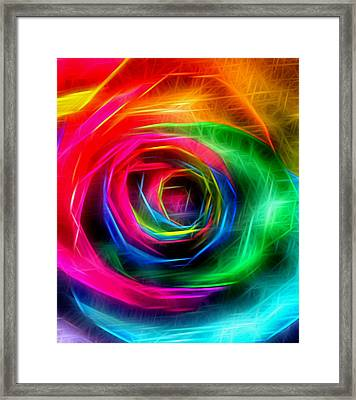 Rainbow Rose Rays Framed Print