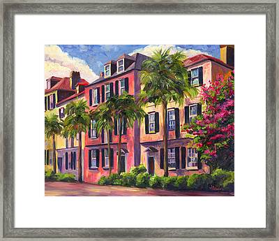 Rainbow Row Charleston Sc Framed Print