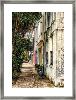 Rainbow Row Sidewalk View - 4 Framed Print by Frank J Benz