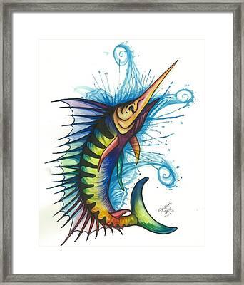 Rainbow Sailfish Framed Print