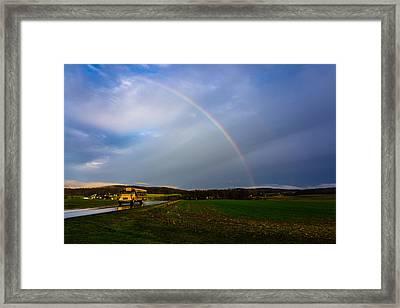 Rainbow School Bus Framed Print by Seth Dochter