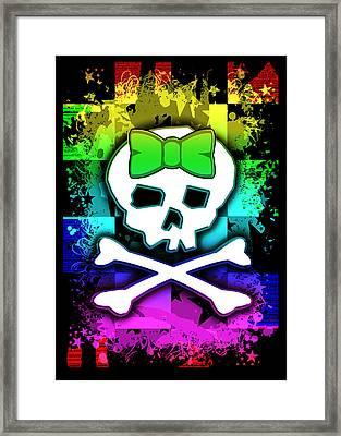 Rainbow Skull Framed Print by Roseanne Jones
