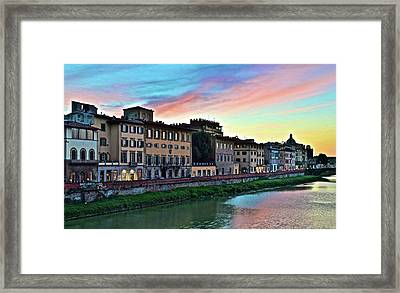 Rainbow Sky Over Florence Italy Framed Print by Frozen in Time Fine Art Photography