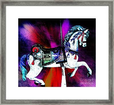 Rainbow Splash Carousel Horse Framed Print