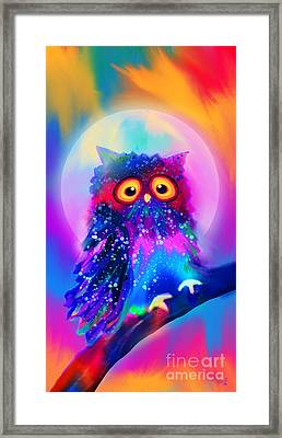 Rainbow Spotted Owl Framed Print by Nick Gustafson