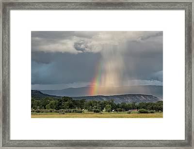 Rainbow Storm Over Log Hill Framed Print