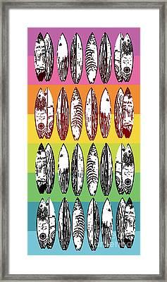 Rainbow Surf Boards Framed Print by Edward Fielding